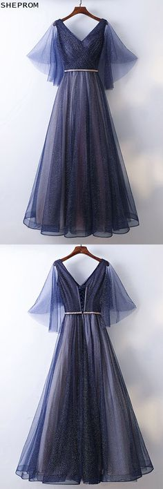 Shop Beautiful Flowy Navy Blue Long Cheap Prom Dress With Bling online. SheProm offers formal, party, casual & more style dresses to fit your special occasions. Prom Dresses For Teens, Prom Dresses 2018, Cheap Prom Dresses, Trendy Dresses, Elegant Dresses, Day Dresses, Dress Outfits, Nice Dresses, Formal Dresses