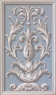 Shabby Chic  Ornate Blue Panel with White Design