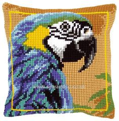 Buy Blue Macaw Cushion Front Chunky Cross Stitch Kit Online at www.sewandso.co.uk