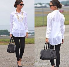 Love this outfit for the office, or jet setting off to a much sunnier place. The white blouse, cami and leggings just looks so classy