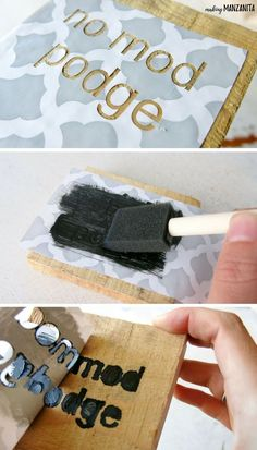 This sign making hack on how to prevent stencil bleeding when you are making wood signs will seriously change the way you DIY woods signs. Stencils For Wood Signs, Stencil Wood, How To Make Stencils, Diy Wood Signs, Letter Stencils, Painted Wood Signs, Stencil Diy, Stencil Painting, Painting On Wood