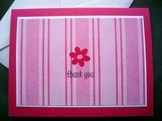 Pink Stripe Flower Thank You Flat Postcard by sincerelyyours123, $18.50 pack of 6. #thankyou #stationery #pinkstripe #flower #birthday #teacher