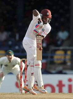 West Indies batsman Darren Bravo plays a shot during the second day of the second-of-three Test matches between Australia and West Indies April 16, 2012 at Queen's Park Oval in Port of Spain, Trinidad.