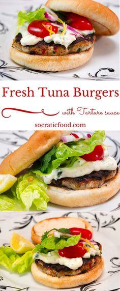 Fresh Tuna Burgers with Tartare Sauce