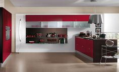FLIRT kitchen by Scavolini - Design Vuesse Condo Kitchen, Red Kitchen, Kitchen Interior, Kitchen Ideas, Built In Cupboards, Kitchen Cupboards, Scavolini Kitchens, White Gloss Kitchen, Larder Unit