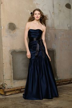 Watters WTOO 160 Bridesmaid Dress. Crystal Satin strapless dropped waist floor length dress with Satin ribbon at waist Fabric Luminescent Taffeta  #timelesstreasure