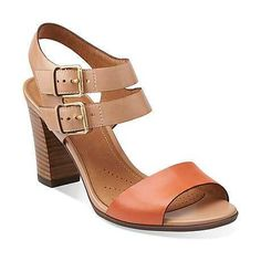 Shira Danika in Orange Leather/Nude Leather/ - Womens Sandals from Clarks