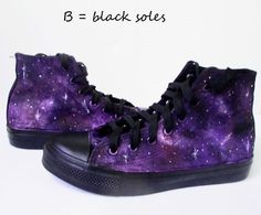 4652d7d696 Custom handpainted purple galaxy sneakers