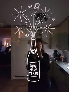 Champagne vuurwerk #raamtekening door Carmen d M - #Carmen #Champagne #door #raamtekening #vuurwerk