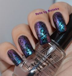Nails by Malinka: ILNP - Birefringence topped with Essence - Make a wish stamped with SG-05