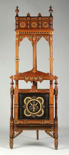 19th Century Victorian Ebonized, Inlaid And Gilded Walnut Portfolio Stand/Easel