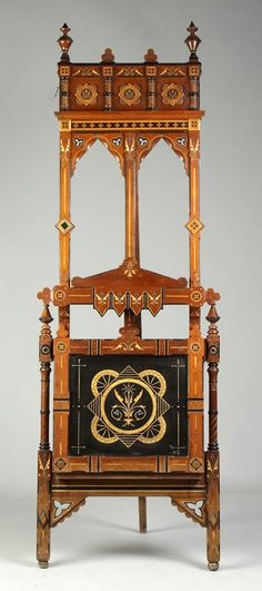 19th Century Victorian Ebonized, Inlaid And Gilded Walnut Portfolio Stand/Easel