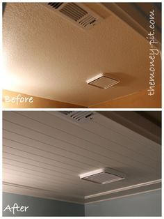 Installing a Beadboard Ceiling: Cover the ugly popcorn or textured ceilings! I did this and it looks good/easy care.