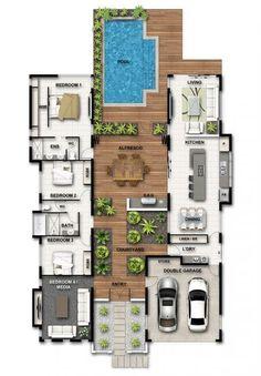 Dream house plans: Farmhouse home plans layout garage Ideas for 2019 2020 Pool House Plans, Sims House Plans, Courtyard House Plans, Dream House Plans, Modern House Plans, Modern House Design, U Shaped House Plans, Passive House Design, Sims 4 House Design