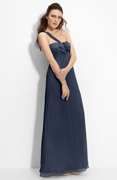 Amsale Bow Front One Shoulder Chiffon Gown | Nordstrom