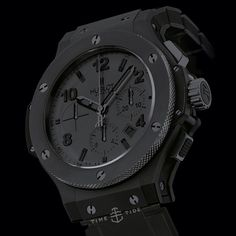 LIVE NOW ONLINE: The Ultimate Guide to Black Watches, Part focusing on how watches are blackened and what works best. The black Monaco looks capital B Badass but scratches like a mean old kitty kat. Pictured here the Hublot Bigger Bang All Hublot All Black, Cool Watches, Watches For Men, All Black Watches, Dream Watches, Hublot Watches, Mens Toys, Hand Watch, Luxury Watches