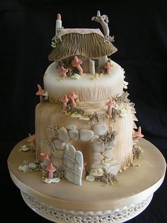Mandy for future reference heres my cake ;) he he fairy house cake Gorgeous Cakes, Pretty Cakes, Cute Cakes, Amazing Cakes, Fairy Castle Cake, Fairy House Cake, Fondant Cakes, Cupcake Cakes, Kale Pasta
