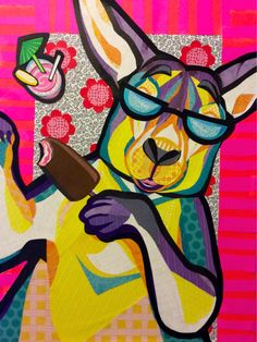"""Cut Paper collage art, by Laura Yager, """"Ray Catching Roo"""", funny kangaroo, colorful kangaroo artwork, animal portraits art, cut paper art, kangaroo art"""