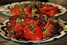 Vibrant & fresh tomatoes right from the garden!  {Tomatoes + basil + lemon zest + olive oil + vinegar + salt + pepper}