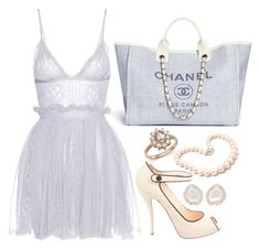 Blue & Crème by carolineas on Polyvore featuring polyvore, fashion, style, Alexander McQueen, Christian Louboutin, Kimberly McDonald, Bloomingdale's, Hiho Silver and clothing