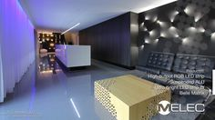 M-Elec's head office reception area. LED strip used above the reception desk and RGB LED strip used to create mood lighting along the wall.