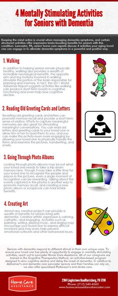 Retaining the mind lively is essential while dealing with dementia symptoms, and positive established activities offer amazing brain-boosting blessings for seniors with this situation. Lancaster, PA, senior domestic care experts discuss four activities your getting old cherished you'll interact in to alleviate dementia signs in a effective and fine way. 1. Strolling 2. Reading antique Greeting cards and Letters 3. Going thru image Albums 4. Developing artwork