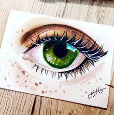 ACEO Green Eye Original Watercolor Painting Beautiful Freckles Art Kate Holloman #Realism