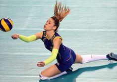 Camila Brait of Brazil receives Women Volleyball, Volleyball Players, Beach Volleyball, Volleyball Wallpaper, Camila, Look Fashion, Scarlet, Athletes, Poses