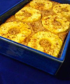 Płatki owsiane zapiekane z ananasem, zdrowe śniadanie, jogurt, cynamon, banan,