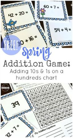 FREE Spring Addition Maths Games - this is such a fun math game with various different ways to play to help kids add double digit numbers using a hundreds chart. This free printable chart is a fun activity for kindergarten, first grade, and grade students Kindergarten Math Games, Math Games For Kids, Math Activities, Abc Games, Grade 2 Math Games, Student Games, Math Addition Games, Printable Math Games, Free Printables