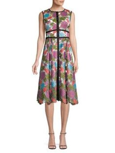 Nanette Lepore Embroidered Floral Button-front Dress In Pink Multi Button Front Dress, Dress Silhouette, Nanette Lepore, Scalloped Hem, Floral Embroidery, World Of Fashion, Luxury Branding, Pink Dress, Dress Outfits