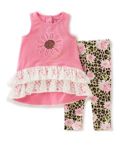 Another great find on #zulily! Pink Lace Tunic & Floral Leggings - Infant #zulilyfinds