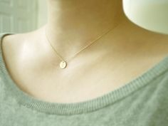 Gold initial dot necklace - dainty delicate initial necklace - gold filled chain. $25.00, via Etsy.