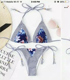 2e957ad4a1 NEW NEVER WORN SHEIN Blue Floral Triangle Cheeky Bikini Size S #fashion # clothing #