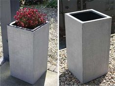 Pflanzkübel BLOCK, Fiberglas, Beton-Design
