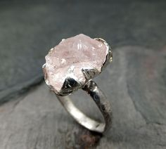 Raw Rough Morganite Recycled Sterling Silver Ring by byAngeline