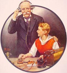 Grandpa Listening In on the Wireless. Рокуэлл, Норман
