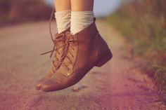 Brown leather shoes.