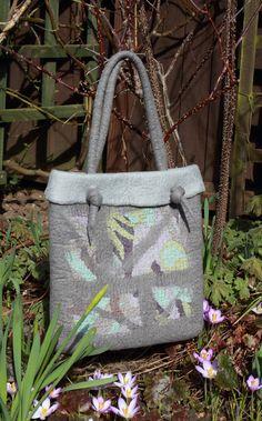 Grey Nuno Felted Bag, OOAK, Merino Wool with Silk, via Etsy.