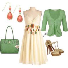 Spring/Summer Fashion:  Coral, cream, green = light, fresh, sweet