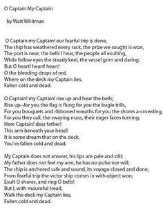 charming life pattern: O Captain My Captain - Walt Whitman - poem - quote...