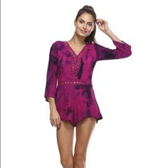 "Sale Tea n Cup Fuchsia Tie Dye Romper Beautiful Free Spirited Tie Dye Romper.  Lightweight Gauzy Material - 100% Cotton.  Flowy.  Crochet Trim & Insets.  Fuchsia Pink-Purple.  Plunging Neckline with Snap Button.  Shorts Lining.  Side Zipper Close.  Bust 29""-31"" (Flat / Stretched).  Length 28 1/2"".   Price Firm Unless Bundled. Photos Courtesy of Tea n Cup. Tea n Cup Other"