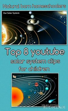 top youtube clips to learn about the solar system for kids. great for projects and understanding of the solar system in a fun engaging way. http://naturalbornhomeschooler.com/2015/04/29/top-8-youtube-…e-solar-system/ More