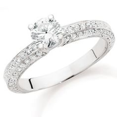 Anyone with a ring that has pave diamonds on the side :  wedding engagement ring pave ring Ring2