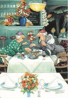 Oma's in het restaurant