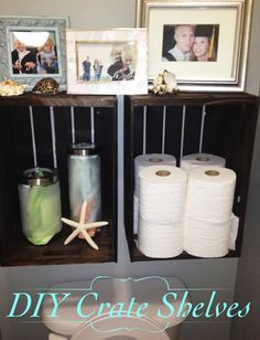 Entirely Eventful: DIY Crate Shelves also love that they used foggy jars to hold tampons and pads so no one can see them :D! Gave me a great idea for bathroom!