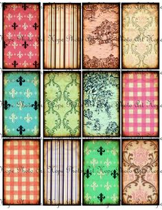 Fleur De Lis Grunge Backgrounds 2x3.5 Hang Tags - French toile ATC ACEO greeting cards paper supplies - U Print 300dpi jpg sh162