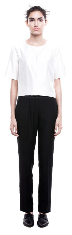 GABRIELA SAKATE | PLEATED TROUSERS IN BLACK LUXURIOUS VISCOSE