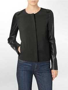 faux leather colorblock zip front blazer