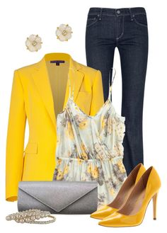 """Yellow Blazer"" by qtpiekelso ❤ liked on Polyvore featuring Kate Spade, Citizens of Humanity, Ralph Lauren Collection, Madewell, Diavolina, Worthington, women's clothing, women, female and woman"